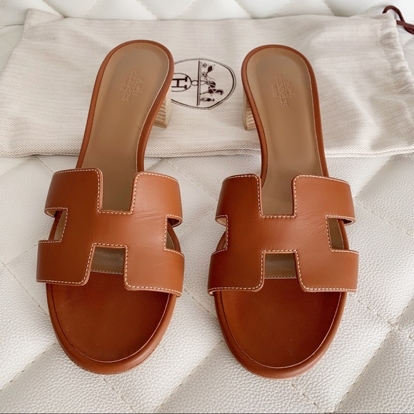 f5d1cc3dd26a Hermes Shoes | Sold Gold Oasis Sandals | Poshmark